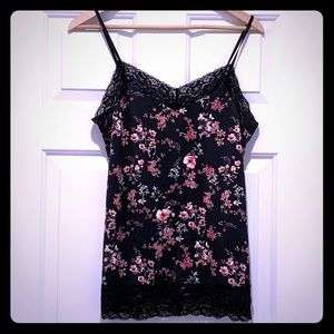 White House Black Market Floral Camisole with Lace